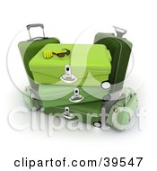 Clipart Illustration Of Sunglasses And Gloves On Green Baggage by Frank Boston