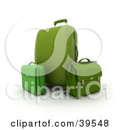 Clipart Illustration Of A Green Rolling Suitcase With A Bag And Briefcase
