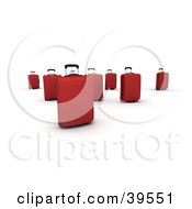 Clipart Illustration Of A Group Of Red Rolling Suitcases