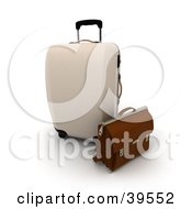 Clipart Illustration Of A Beige Rolling Suitcase And Brown Briefcase