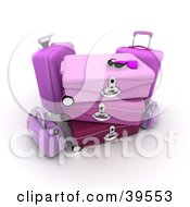 Clipart Illustration Of A Pair Of Gloves And Shades On Top Of Stacked Pink Suitcases