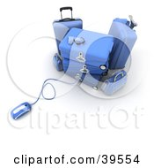 Clipart Illustration Of A Computer Mouse Connected To Blue Luggage