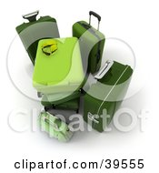Clipart Illustration Of Green Baggage Stacked At An Airport