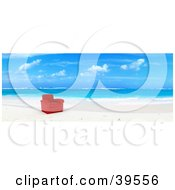 Clipart Illustration Of A Red Leather Chair At The Waters Edge On A Tropical Beach by Frank Boston
