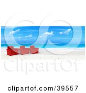 Clipart Illustration Of Three Red Leather Chairs At The Waters Edge On A Tropical Beach by Frank Boston