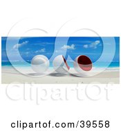 Clipart Illustration Of Three Cocoon Chairs At The Waters Edge On A Tropical Beach by Frank Boston