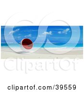 Clipart Illustration Of A Red And White Cocoon Chair At The Waters Edge On A Tropical Beach by Frank Boston