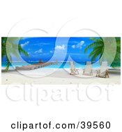 Clipart Illustration Of A Deserted Tropical Beach With Three Chairs Near A Dock by Frank Boston