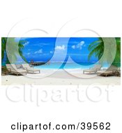 Clipart Illustration Of A Tropical Beach With Lounge Chairs Under Palm Trees Near A Dock