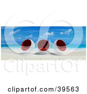 Clipart Illustration Of Cocoon Chairs On A Tropical Beach At The Waters Edge by Frank Boston