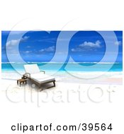 Clipart Illustration Of A Reclined Lounge Chair At The Waters Edge On A Tropical Beach by Frank Boston