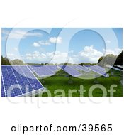 Clipart Illustration Of A Solar Panel Energy Farm