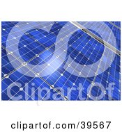 Clipart Illustration Of A Closeup Of Blue Solar Panels Generating Energy