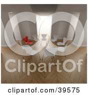 Clipart Illustration Of A Circle Of Mostly White Chairs One Red Chair Standing Out by Frank Boston