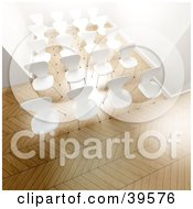 Clipart Illustration Of Rows Of Empty White Office Chairs In A Bright Office by Frank Boston