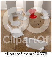 Clipart Illustration Of One Red Chair In A Circle Of White Chairs In An Office by Frank Boston