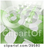 Clipart Illustration Of Empty White Chairs In Rows For A Seminar In A Bright Office With Green Floors by Frank Boston
