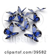 Clipart Illustration Of A Group Of Blue Solar Panel Butterflies