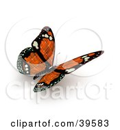 Clipart Illustration Of An Orange Butterfly With Solar Panel Wings