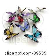 Clipart Illustration Of A Group Of Colorful Solar Panel Butterflies by Frank Boston