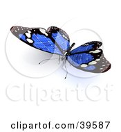 Clipart Illustration Of A Blue Butterfly With Solar Panel Wings by Frank Boston