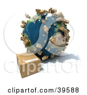 Clipart Illustration Of Packages Being Delivered And Shipped Worldwide On Planet Earth