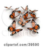 Clipart Illustration of a Group Of Orange Solar Panel Butterflies by Frank Boston #COLLC39590-0095