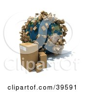 Clipart Illustration Of Cardboard Boxes Beside And Popping Up Around Planet Earth by Frank Boston #COLLC39591-0095
