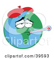 Sick Planet Earth Wearing An Ice Pack A Thermometer Stuck In His Mouth Symbolizing Pollution Or The Flu