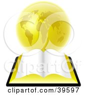 Clipart Illustration Of An Open Bible With Blank Pages Resting In Front Of A Golden Globe