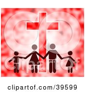 Clipart Illustration Of A Family Of Four Holding Hands In Front Of A Cross In Red Tones by Prawny