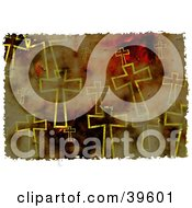 Clipart Illustration Of A Background Of Grungy Crosses In Brown And Yellow by Prawny