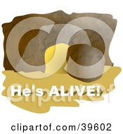 Clipart Illustration Of A Boulder Beside A Cave Entrance With Hes Alive Text