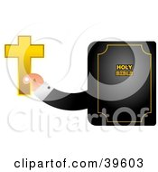Mans Hand Emerging From A Bible And Holding A Golden Cross