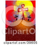 Clipart Illustration Of A Red And Black Crosses On A Hill Against The Sun And Red Sky by Prawny