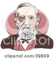 Clipart Illustration Of American President Benjamin Harrison