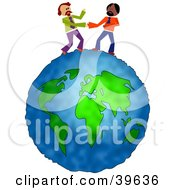 Clipart Illustration Of Two Businessmen Standing On Top Of Thew World And Shaking Hands by Prawny