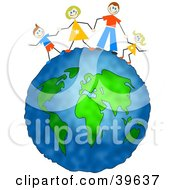 Clipart Illustration Of A Happy Caucasian Family Holding Hands On Top Of The Globe
