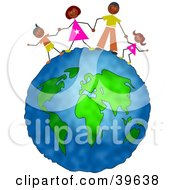 Clipart Illustration Of A Happy Hispanic Family Holding Hands On Top Of The Globe