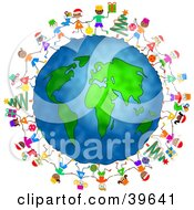 Clipart Illustration Of Happy Children Celebrating Christmas Around The Globe