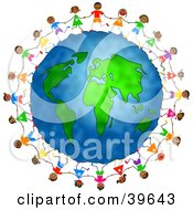 Clipart Illustration Of Diverse Children Holding Hands And Running Around The Globe by Prawny