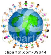 Clipart Illustration Of Diverse Children Holding Hands And Standing Around The Globe by Prawny #COLLC39644-0089