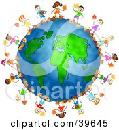 Clipart Illustration Of Happy Children Playing In Autumn Leaves Around The Globe