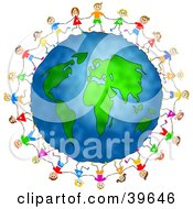 Clipart Illustration Of Happy Children Standing On The Globe And Holding Hands