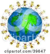 Clipart Illustration Of Happy Brownie Scout Girls Running Around The Globe by Prawny #COLLC39647-0089