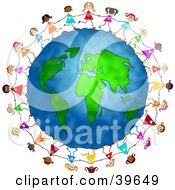 Clipart Illustration Of Playful And Diverse Little Girls Running Around The Globe And Holding Hands