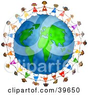 Clipart Illustration Of Diverse Girls Holding Hands Around The Globe