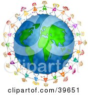 Clipart Illustration Of Happy Girls Holding Hands And Walking Around The Globe