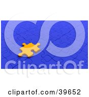 Clipart Illustration Of An Orange Jigsaw Puzzle Piece Resting On A Blue Puzzle