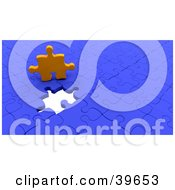 Clipart Illustration Of An Orange Puzzle Piece Above An Empty Space On A Nearly Complete Blue Puzzle